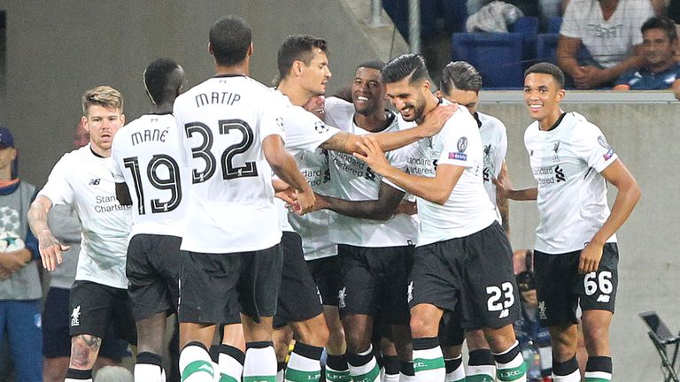 Liverpool players celebrate James Milner's goal at Hoffenheim