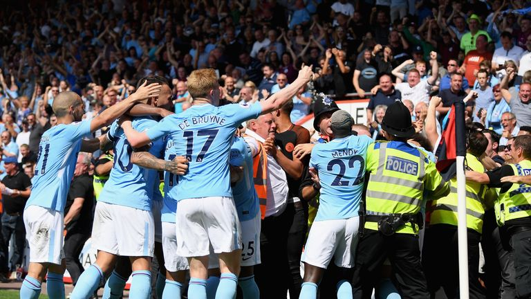 Police and stewards had to restore order after Raheem Sterling's late winner