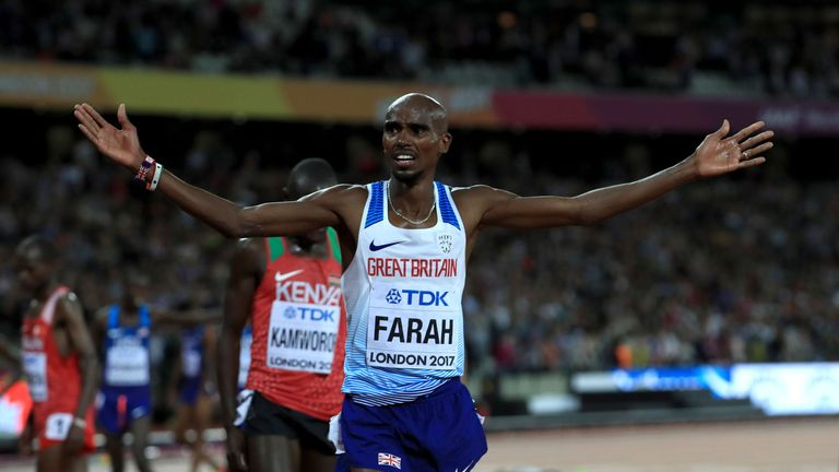 Mo Farah celebrates victory in Friday's 10,000m at the World Athletics Championships in London