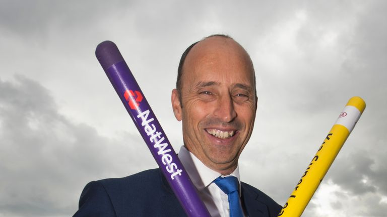 Commentator Nasser Hussain with Rainbow Stumps during the fourth day of the fourth Test
