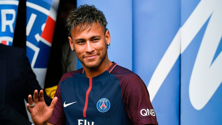 Neymar is unveiled at Parc des Princes following his world record £200m transfer from Barcelona