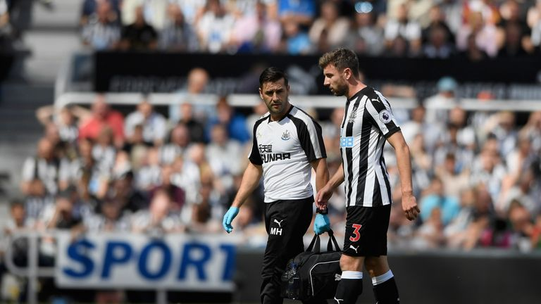 Paul Dummett was forced off with an injury in Newcastle's opening game of the season against Tottenham