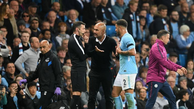 Pep Guardiola disputes Kyle Walker's sending off with fourth official Michael Oliver