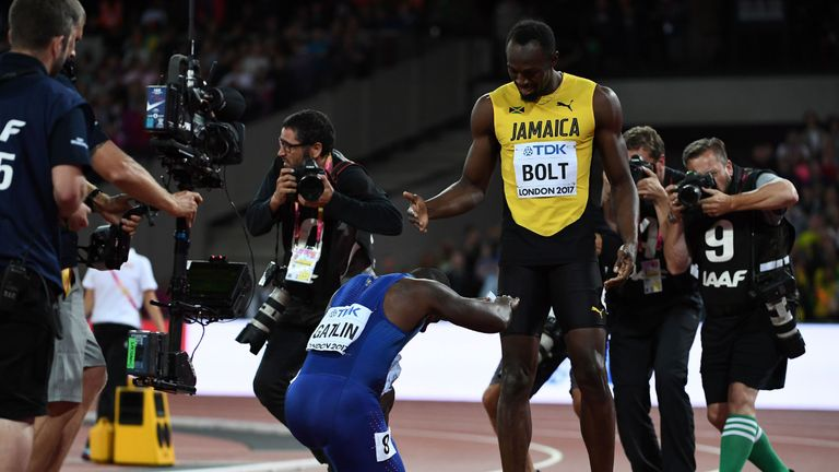 Gatlin pays tribute to Usain Bolt after beating the Jamaican sprint legend to gold at the World Championships in London