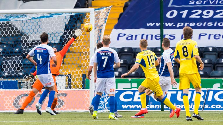 David Wotherspoon (10) fires St Johnstone ahead at Kilmarnock
