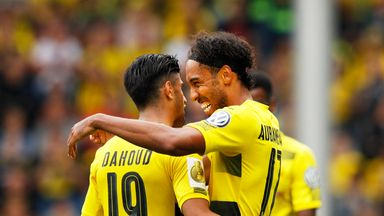 Pierre-Emerick Aubameyang (right) scored twice for Dortmund