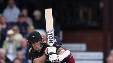 NORTHAMPTON, ENGLAND - AUGUST 11:  Luke Ronchi of Leicesteshire plays the ball off his legs during the NatWest T20 Blast match between the Northamptonshire