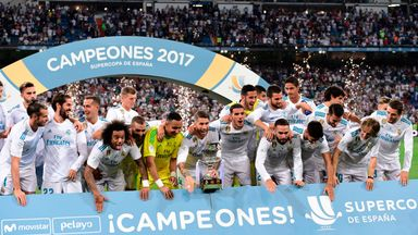 Real Madrid players celebrate their Spanish Super Cup triumph