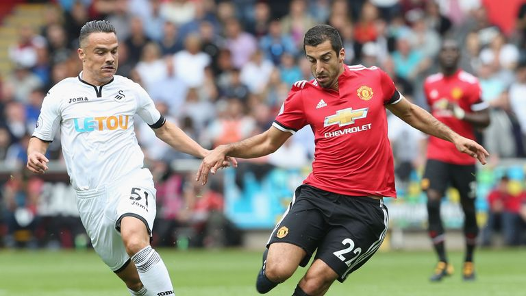 Henrikh Mkhitaryan during the Premier League match between Swansea City and Manchester United at Liberty Stadiumin 2017