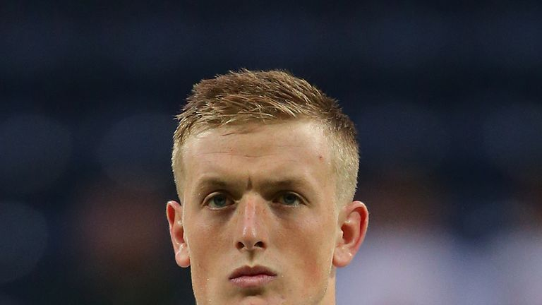 Jordan Pickford of England during the international friendly match between England U21 and USA U23 at Deepdale