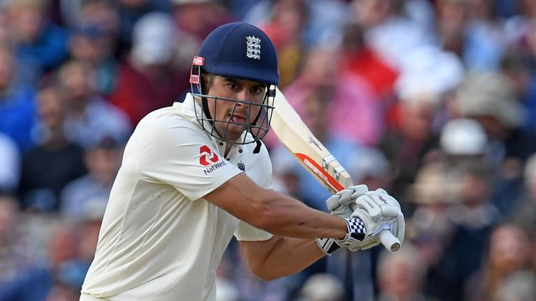England's Alastair Cook plays a shot during play on day 2 of the first Test cricket match between England and the West Indies at Edgbaston in Birmingham, c
