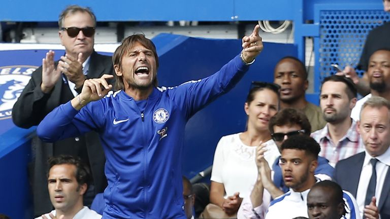 Antonio Conte gestures on the touchline during the Premier League football match between Chelsea and Burnley