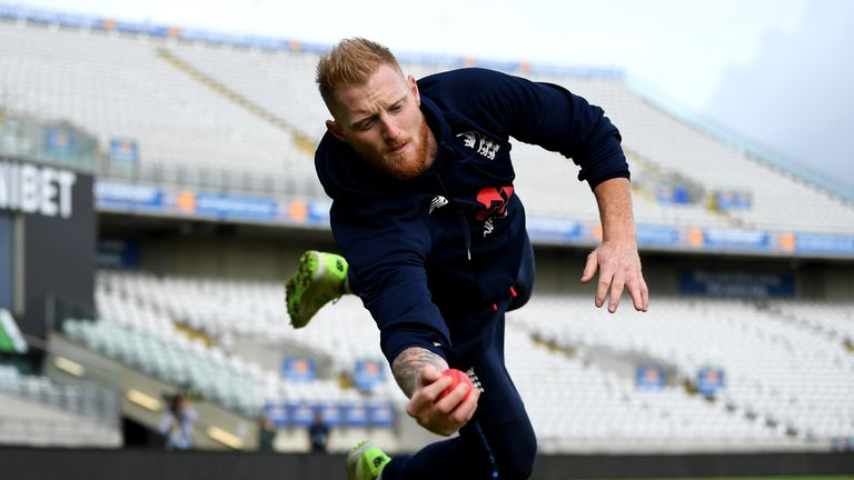 Ben Stokes of England catches during a nets session at Edgbaston on August 16, 2017