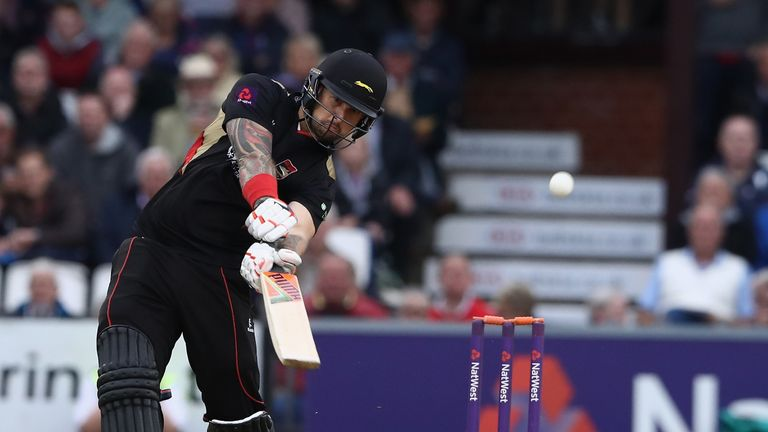 Cameron Delport of Leicesteshire hits a boundary during the NatWest T20 Blast match between the Northamptonshire Steelba