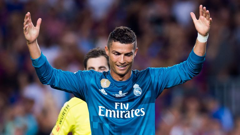 Cristiano Ronaldo reacts after been shown a red card during the Spanish Super Cup Final, 1st Leg