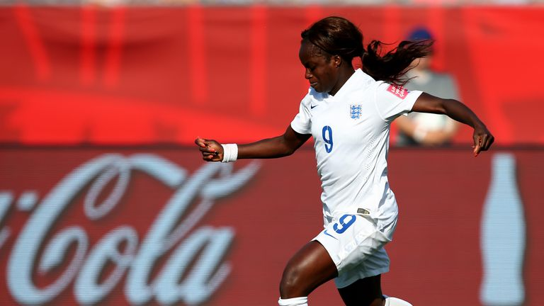 MONCTON, NB - JUNE 13:  Eniola Aluko #9 of England drives to the net in the second half against Mexico during the FIFA Women's World Cup