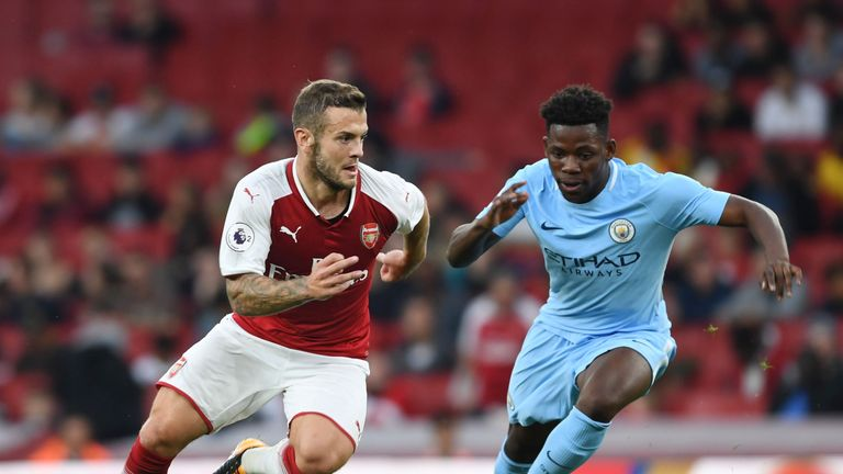 Jack Wilshere in action during the Premier League 2 match between Arsenal and Manchester City at the Emirates Stadium