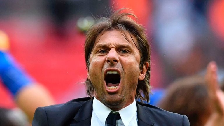 Antonio Conte celebrates on the pitch at Wembley following a 2-1 victory over Tottenham