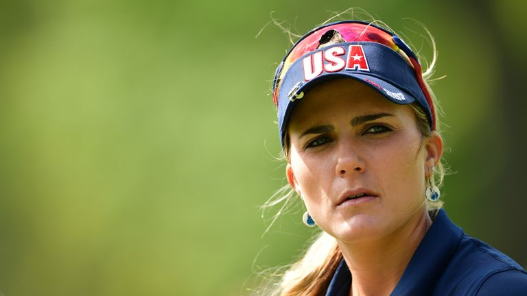 Lexi Thompson of Team USA at The Solheim Cup at Des Moines Golf and Country Club