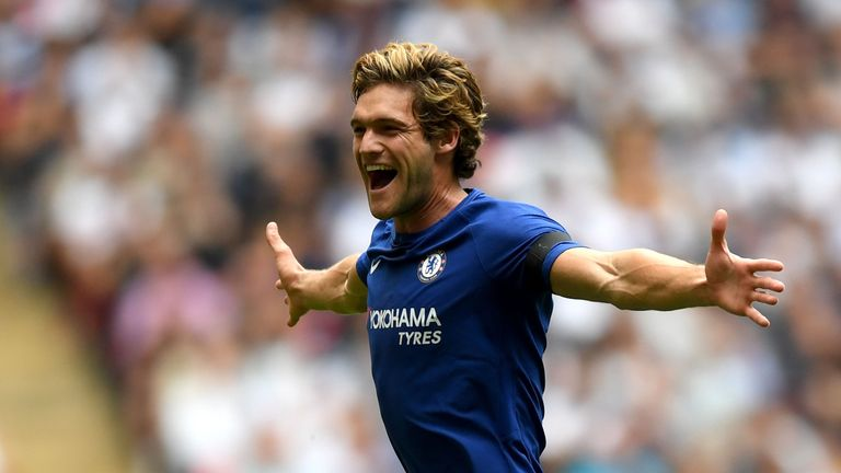 LONDON, ENGLAND - AUGUST 20:  Marcos Alonso of Chelsea celebrates scoring his sides first goal during the Premier League match between Tottenham Hotspur an