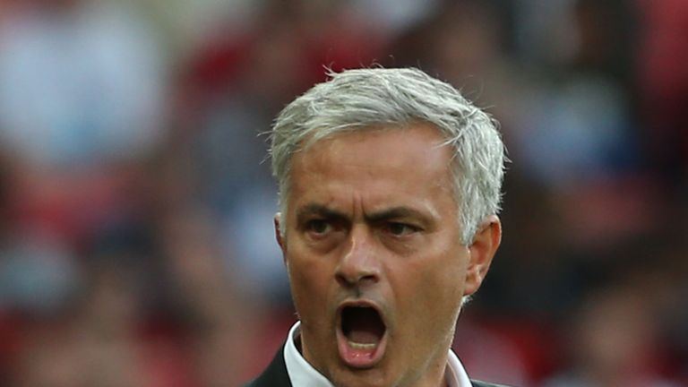 Jose Mourinho during the Premier League match between Manchester United and Leicester City at Old Trafford