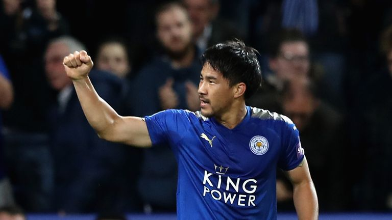 Shinji Okazaki celebrates after firing the Foxes in front