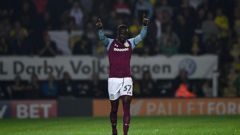 Albert Adomah celebrates scoring for Aston Villa