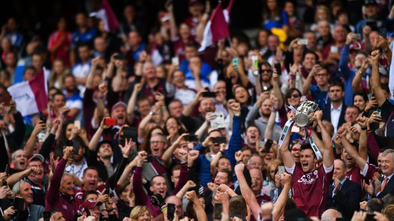 Galway captain David Burke lifts the Liam MacCarthy cup