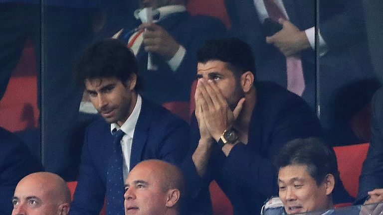 Diego Costa looked on as Atletico conceded a late goal at home to former club Chelsea