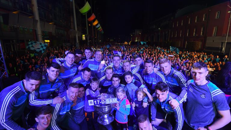 The Dublin players with the Sam Maguire Cup during the Champions Homecoming at Smithfield Square