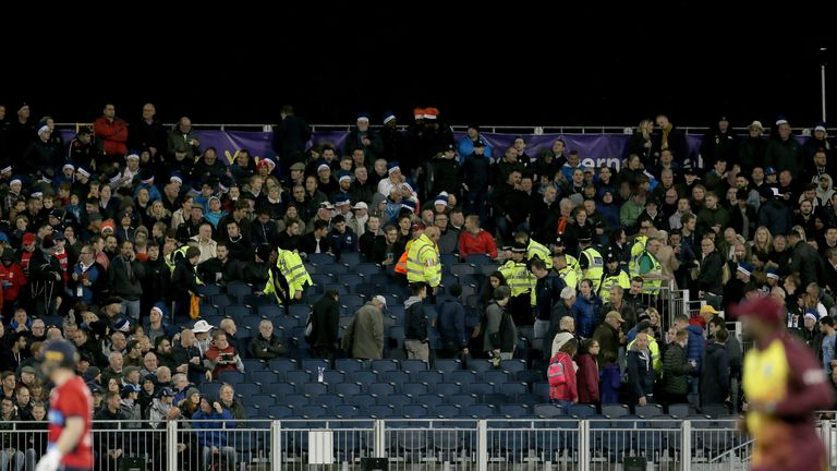 Police and stewards in the affected stand during the T20 match at the Emirates Riverside