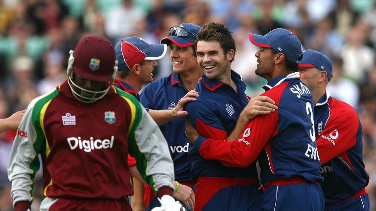 England celebrate taking the wicket of Chris Gayle in 2007