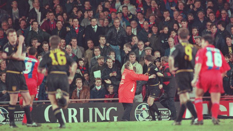 Eric Cantona was banned for attacking a Crystal Palace fan in 1995, when United missed out on the league title