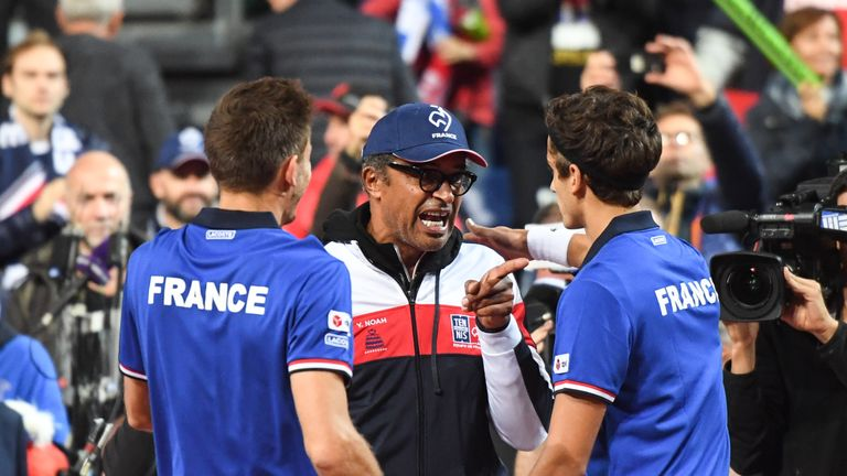 Captain Yannick Noah (C) and his France team are on the brink of a return to the Davis Cup final