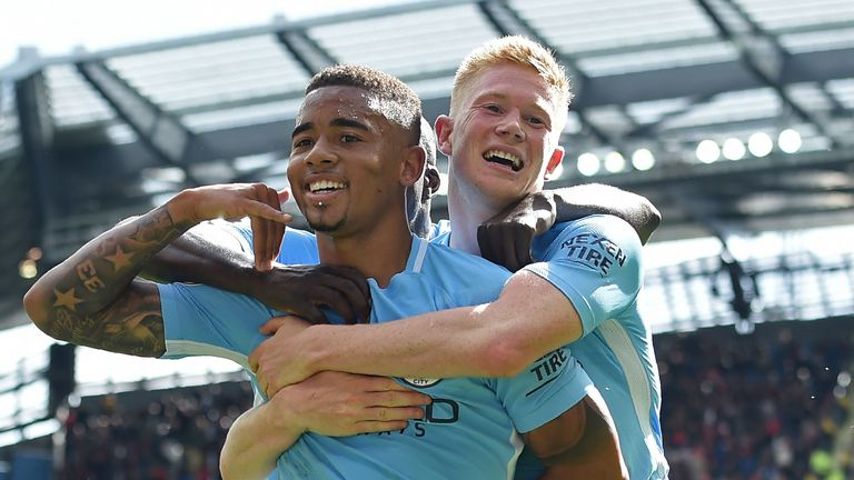 Gabriel Jesus celebrates the first of his two goals with Kevin De Bruyne