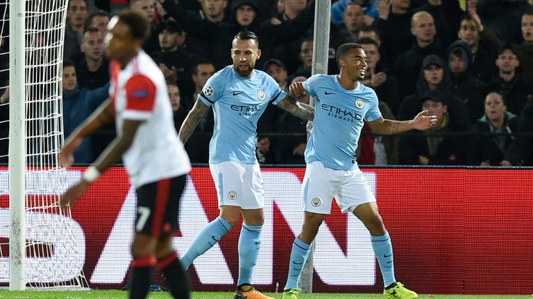 Gabriel Jesus (right) is congratulated after making it 3-0 to Man City