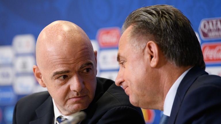 FIFA president Gianni Infantino (left) tried to influence a decision to bar Vitaly Mutko from FIFA's council, says Miguel Maduro