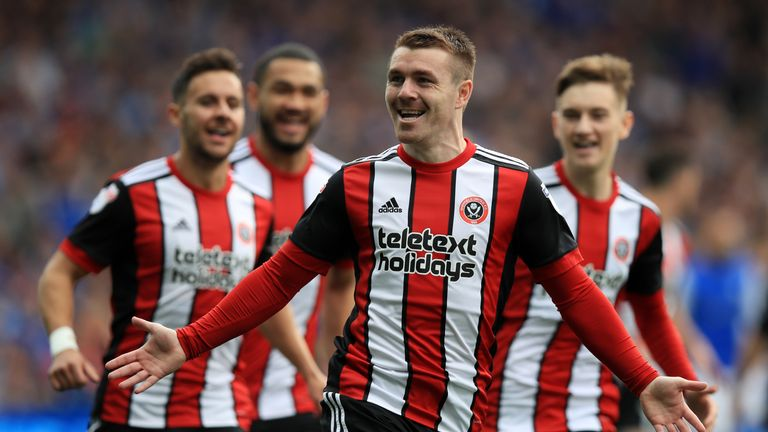 Sheffield United's John Fleck celebrates scoring his side's opening goal at Hillsborough