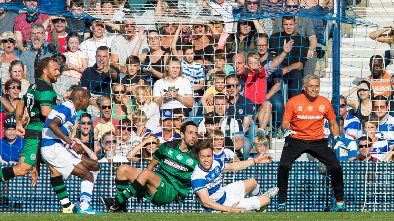 Ralf Little, Olly Murs and Jose Mourinho during the  #Game4Grenfell at Loftus Road