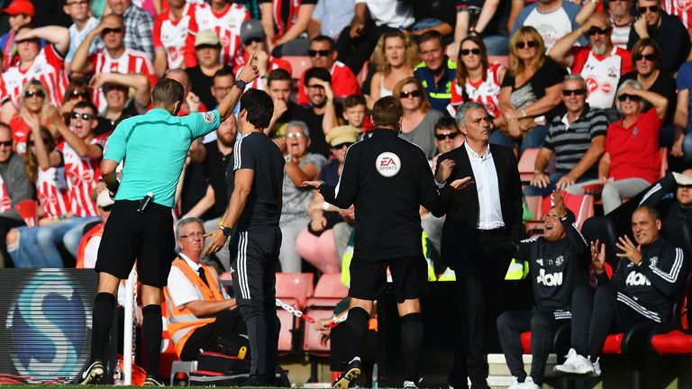 Jose Mourinho was sent to the stands by referee Craig Pawson at Southampton last season