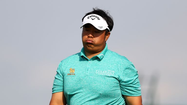 Kiradech Aphibarnrat led after 14 holes but then double-bogeyed the 15th and 18th