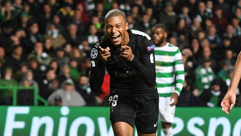 Mbappe celebrates during Paris Saint-Germain's 5-0 thrashing of Celtic