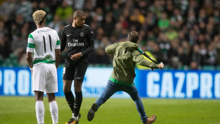 A Celtic fan approached PSG's Kylian Mbappe on Tuesday evening