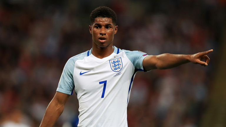Marcus Rashford is expected to start up front against Brazil