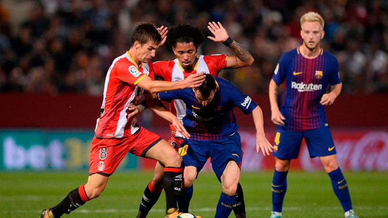 Lionel Messi was given little time on the ball in Girona