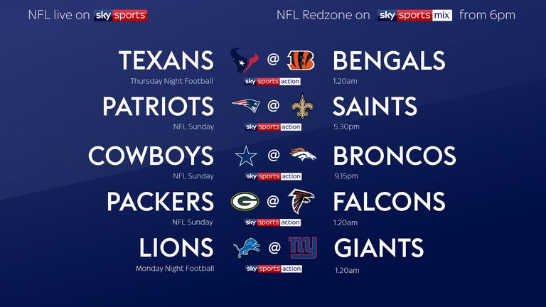 NFL live on Sky Sports in Week Two