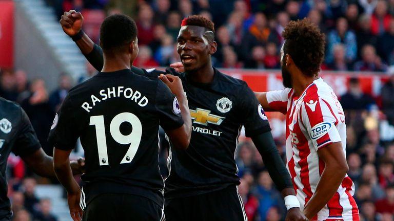 Paul Pogba headed the ball in off Rashford for United's first