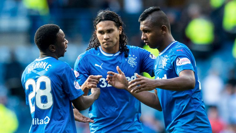 Aaron Nemane, Carlos Pena and Alfredo Morelos (from left to right) are three of the new faces at Ibrox this season