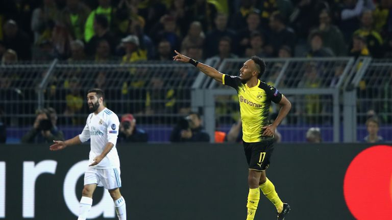 Pierre Emerick Aubameyang pulled one back for Dortmund