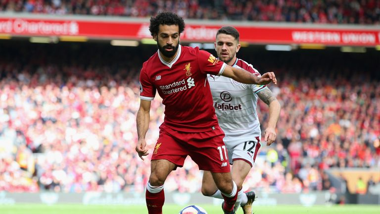Mohamed Salah in action for Liverpool against Burnley